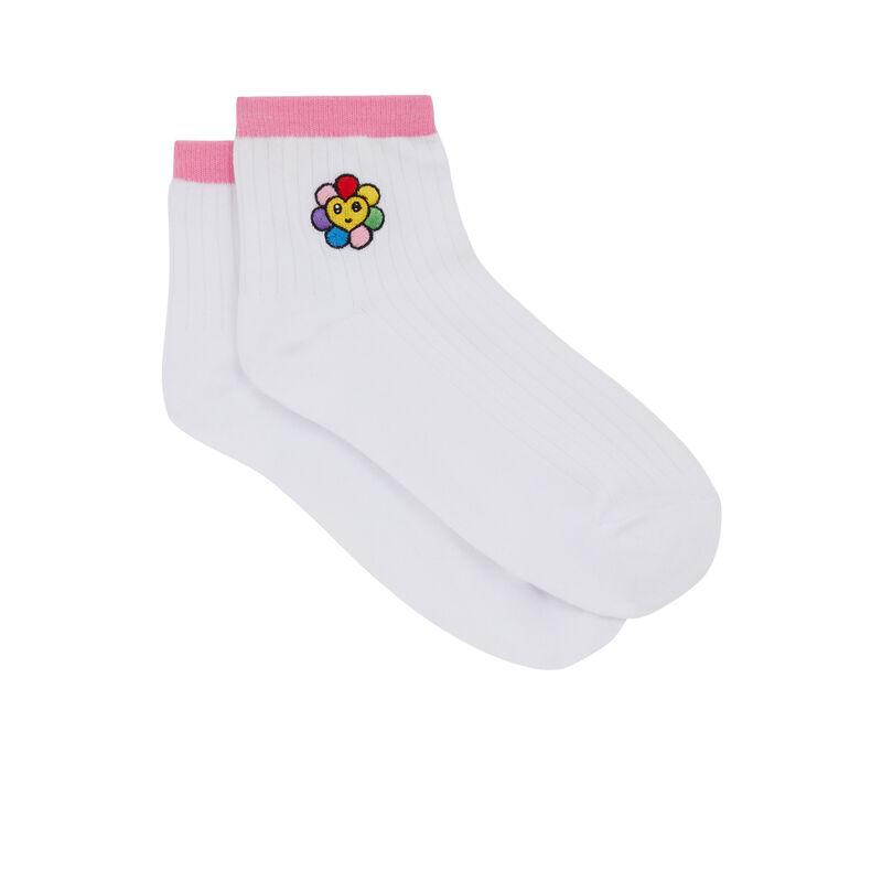 Print socks - white;